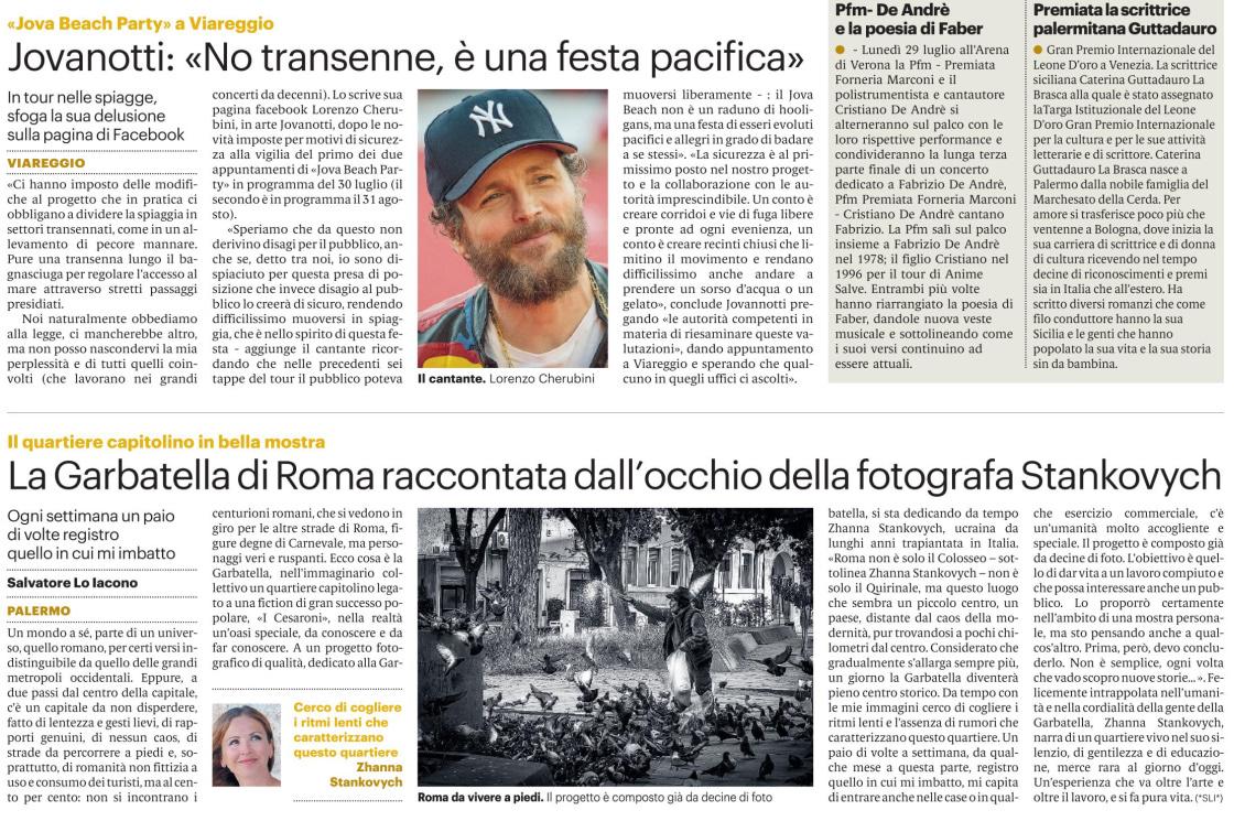 Zhanna Stankovych Giornale di Sicilia